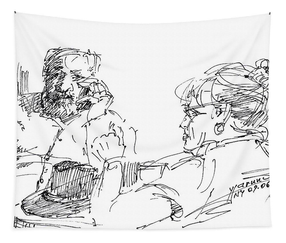 Chating Tapestry featuring the drawing Roger With A Lady by Ylli Haruni