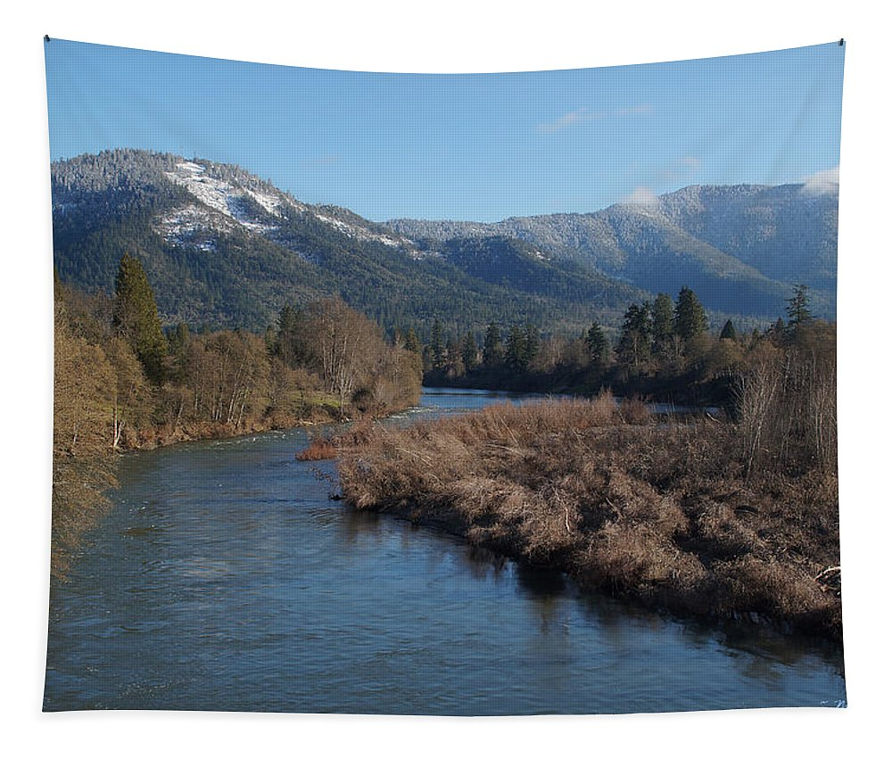 Mt Baldy Tapestry featuring the photograph Rogue River And Mt Baldy In Winter by Mick Anderson