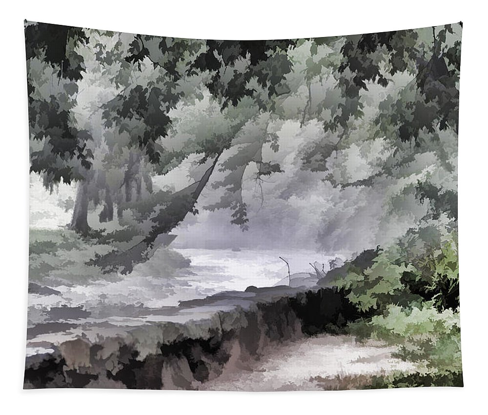 Park Tapestry featuring the mixed media Rolling Waters by Trish Tritz