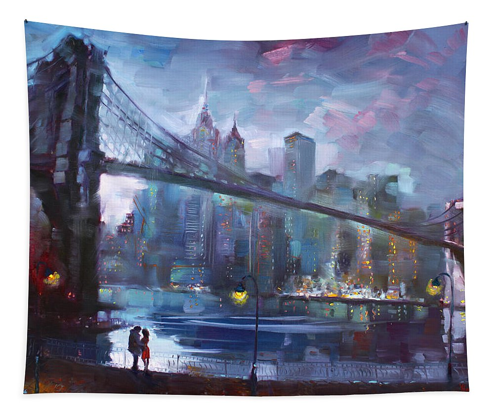 Romance Tapestry featuring the painting Romance By East River II by Ylli Haruni
