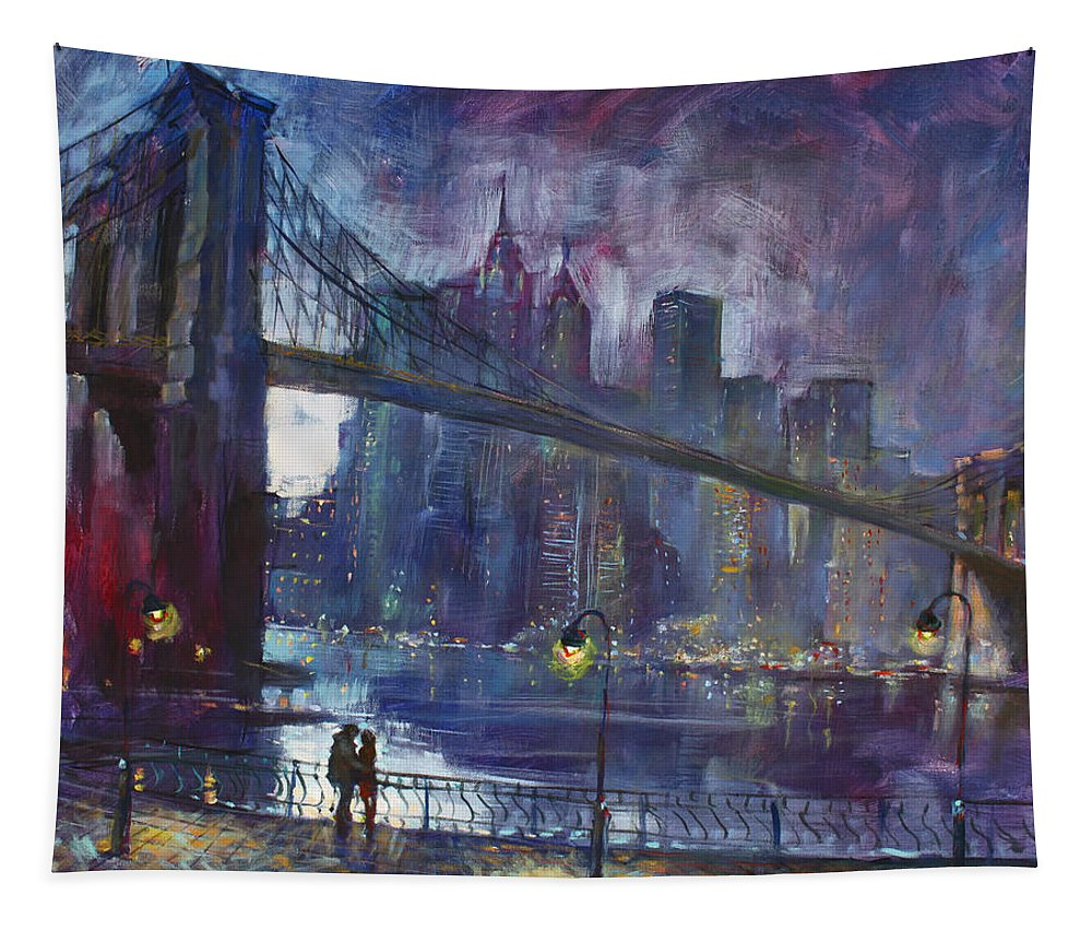 Brooklyn Bridge Tapestry featuring the painting Romance by East River NYC by Ylli Haruni