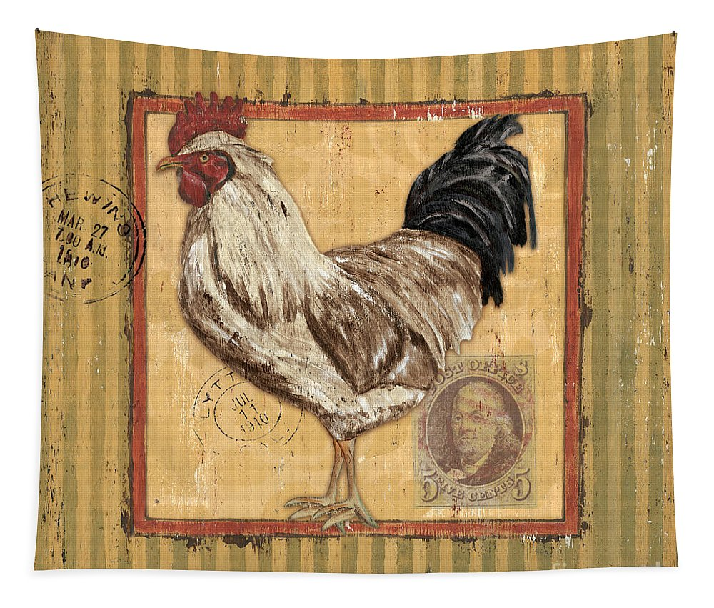 Rooster Tapestry featuring the painting Rooster And Stripes by Debbie DeWitt