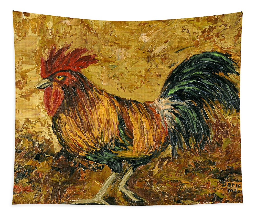 Rooster Tapestry featuring the painting Rooster With Attitude by Darice Machel McGuire