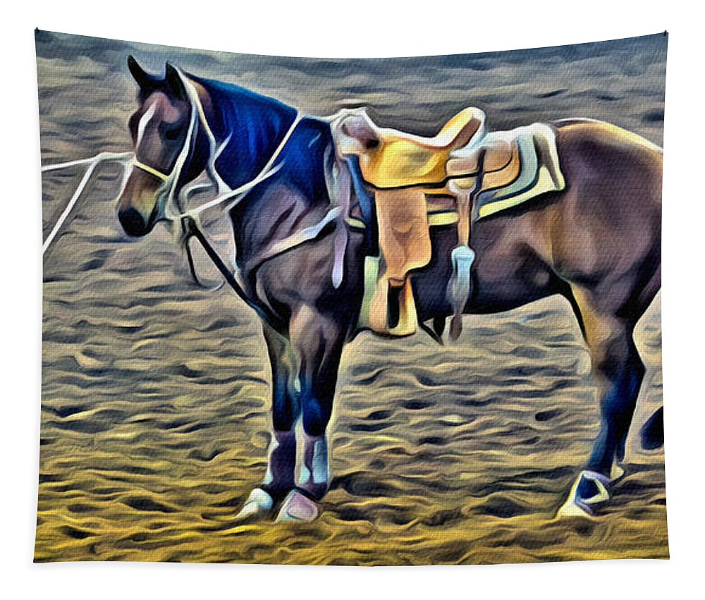 Horse Tapestry featuring the photograph Ropin Horse by Alice Gipson