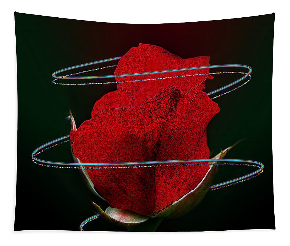 Roses Tapestry featuring the mixed media Rose In A Dark by Ben Yassa