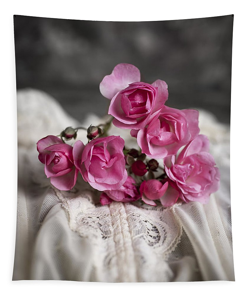 Lace Tapestry featuring the photograph Roses And Lace by Edward Fielding