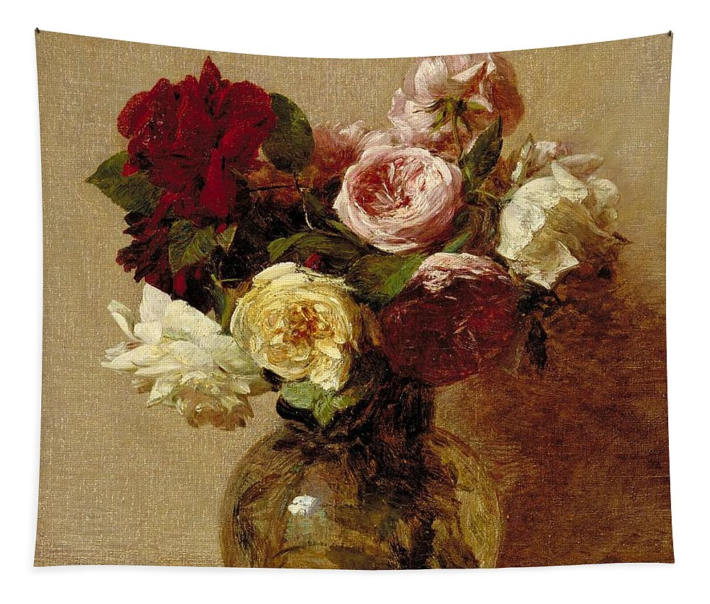 Still-life Tapestry featuring the painting Roses by Ignace Henri Jean Fantin-Latour