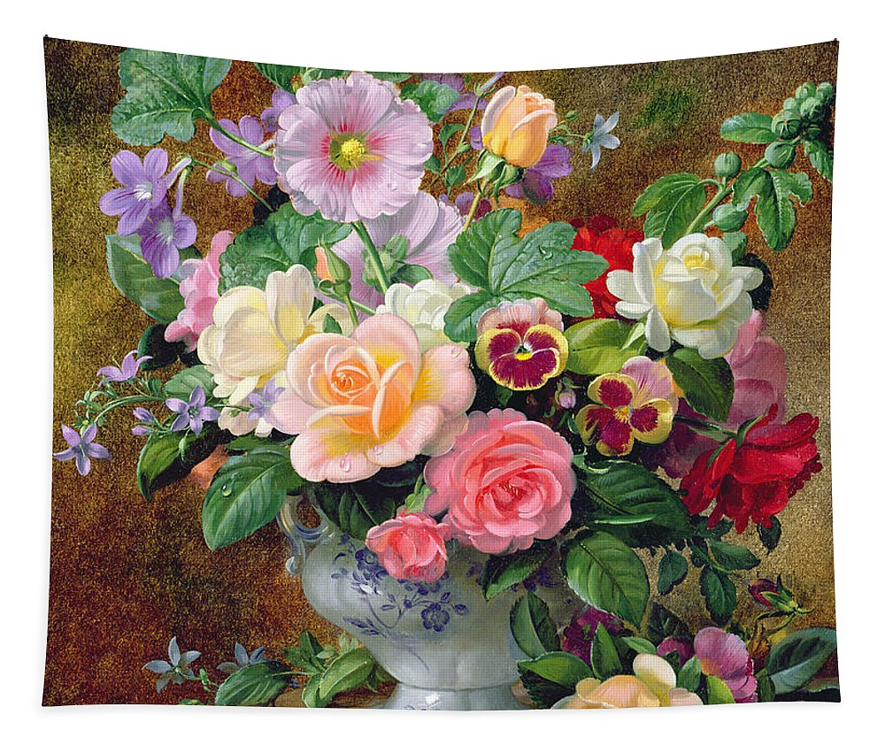 Still-life Tapestry featuring the painting Roses Pansies And Other Flowers In A Vase by Albert Williams