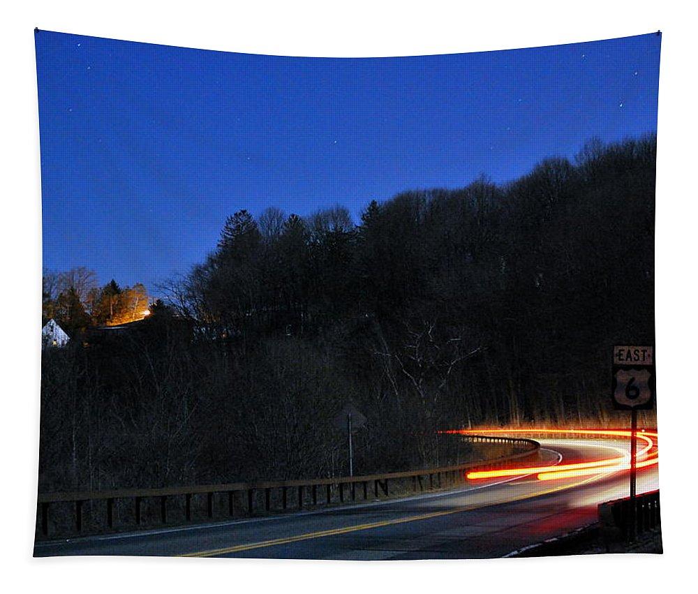 Night Tapestry featuring the photograph Route 6 Blur by Kurt Von Dietsch