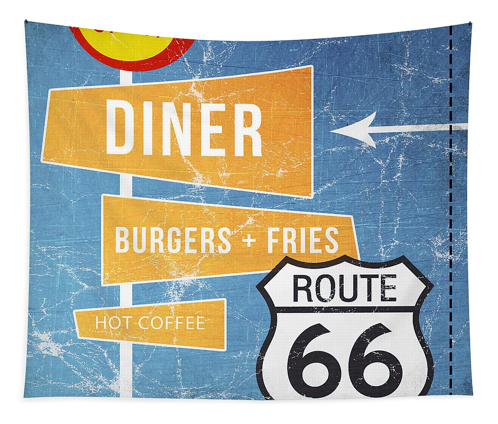 Diner Tapestry featuring the painting Route 66 Diner by Linda Woods