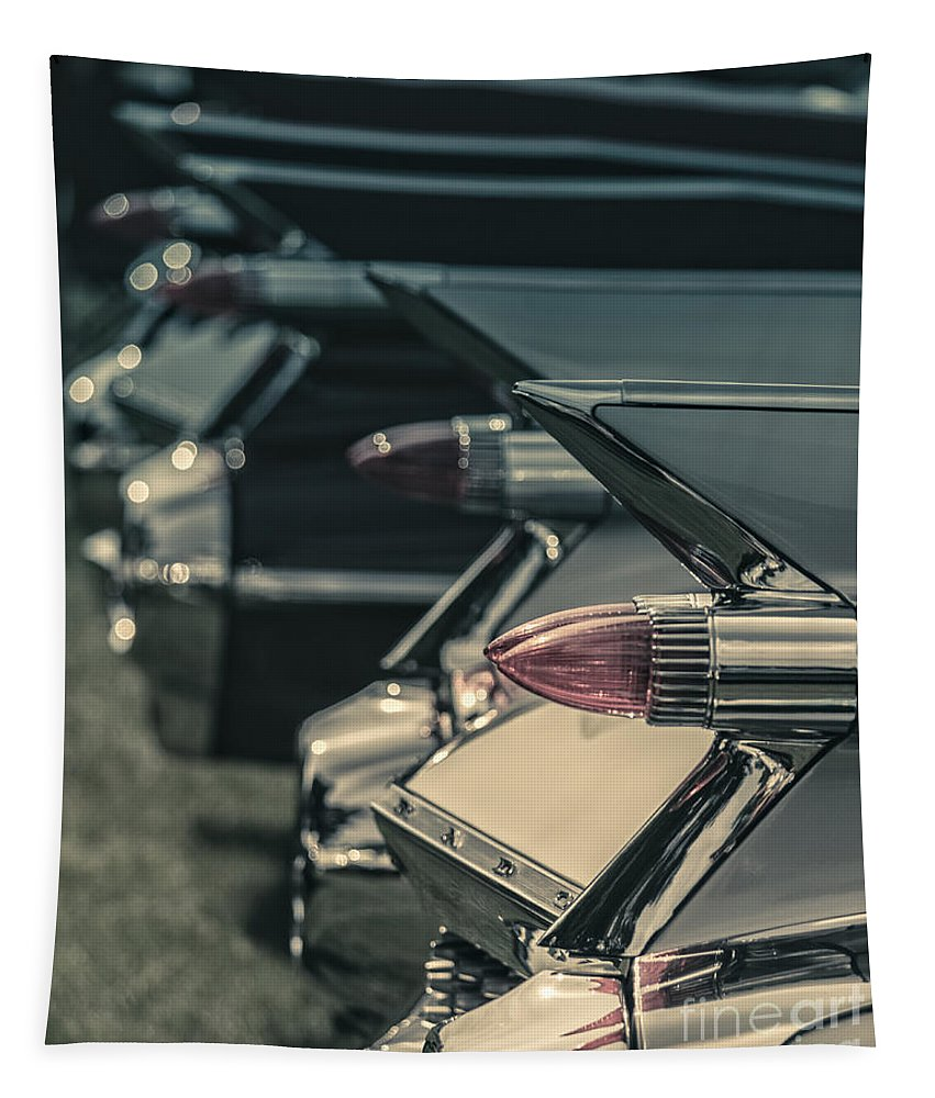 Fins Tapestry featuring the photograph Row Of Vintage Car Fins by Edward Fielding