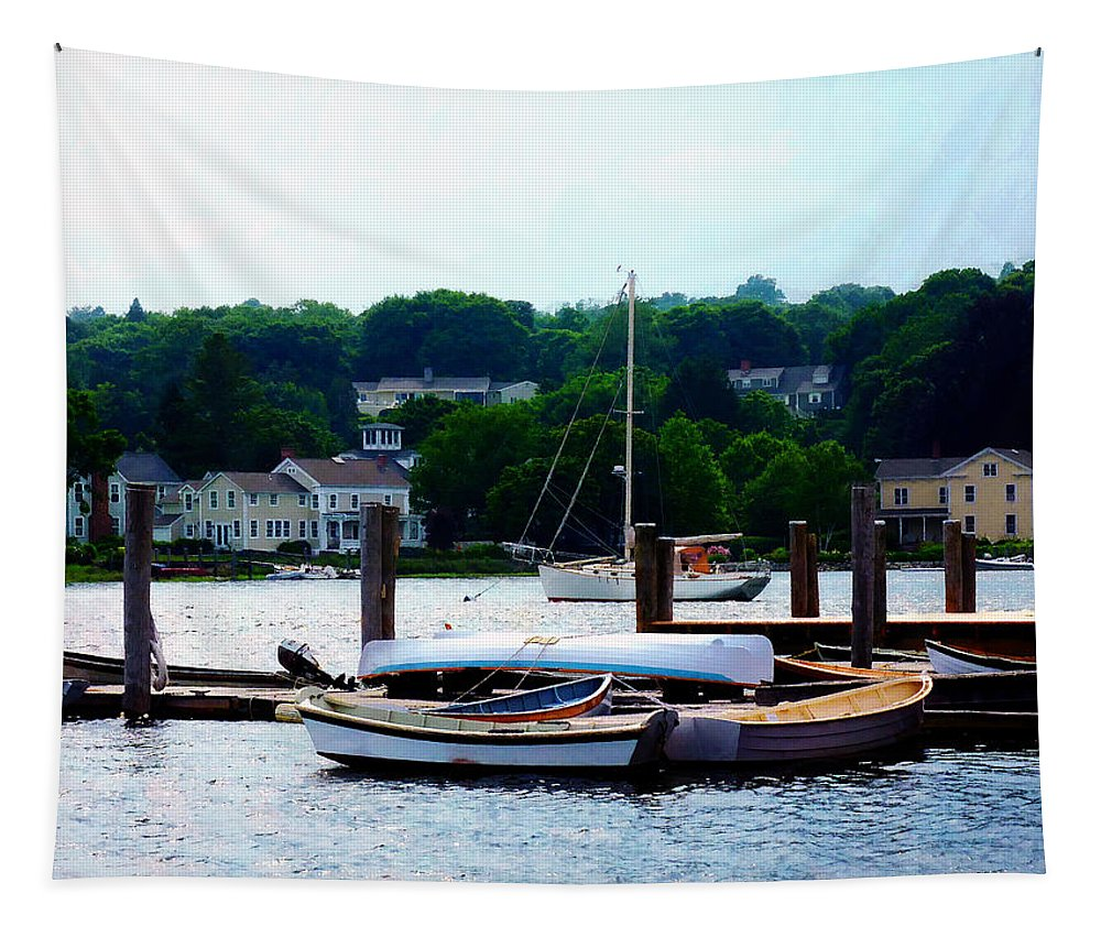 Boat Tapestry featuring the photograph Rowboats Piled At Dock by Susan Savad