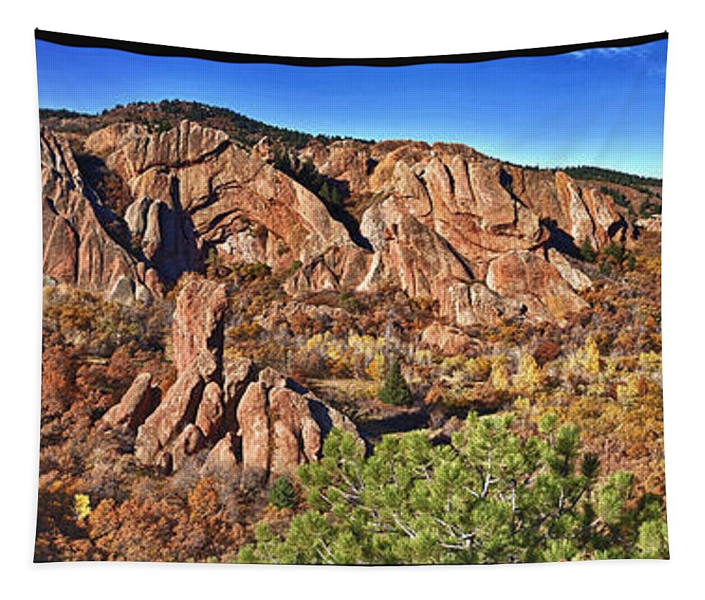 America Tapestry featuring the photograph Roxborough State Park by OLena Art Brand