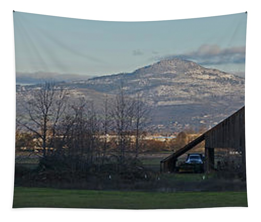 Barn Tapestry featuring the photograph Roxy Ann And Mt Mclaughlin by Mick Anderson