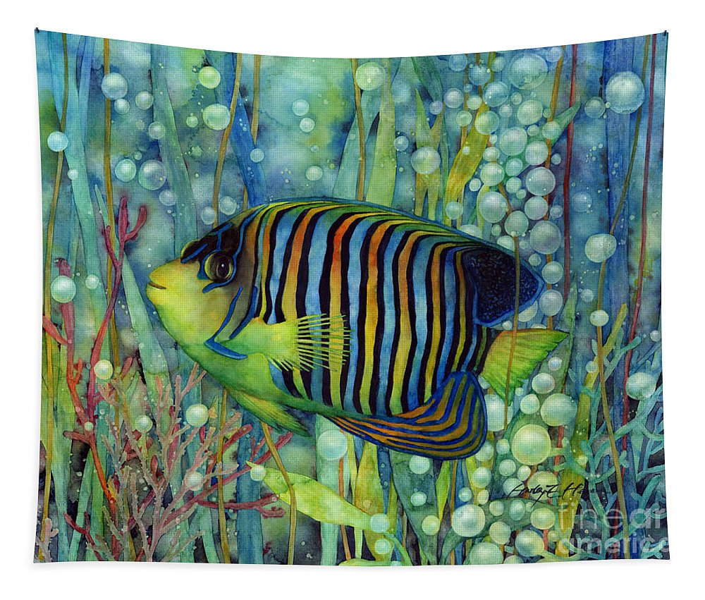 Fish Tapestry featuring the painting Royal Angelfish by Hailey E Herrera