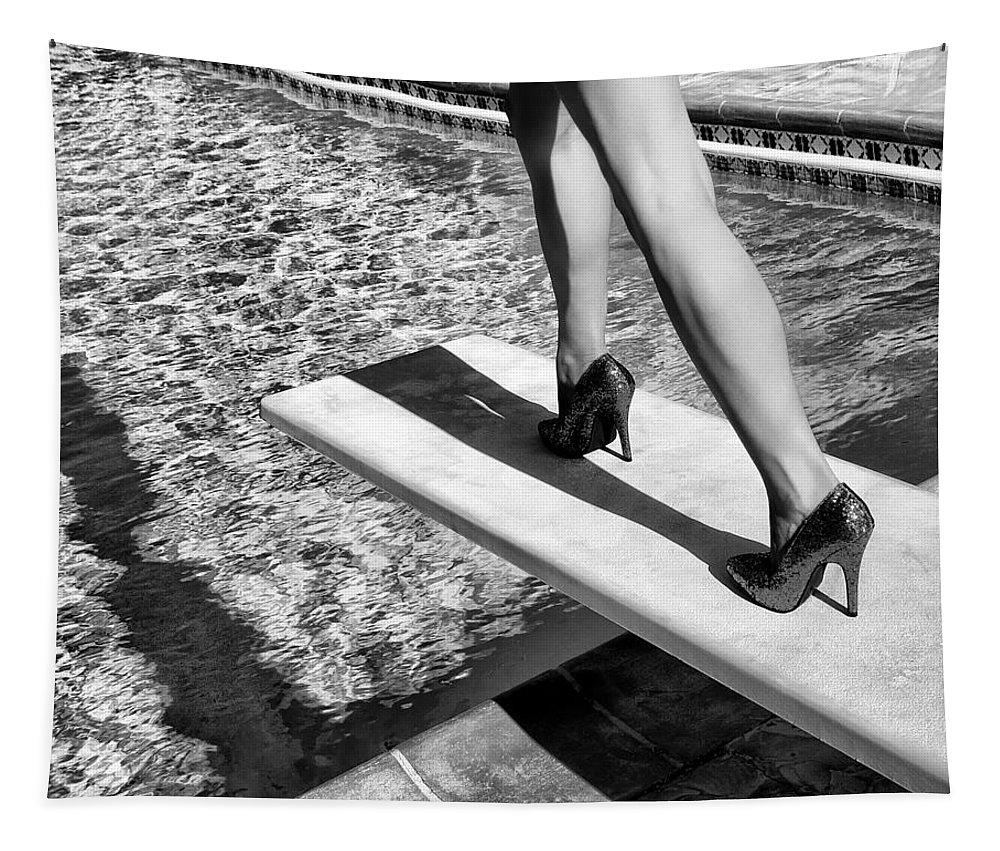 Ruby Heels Tapestry featuring the photograph Ruby Heels Bw Palm Springs by William Dey