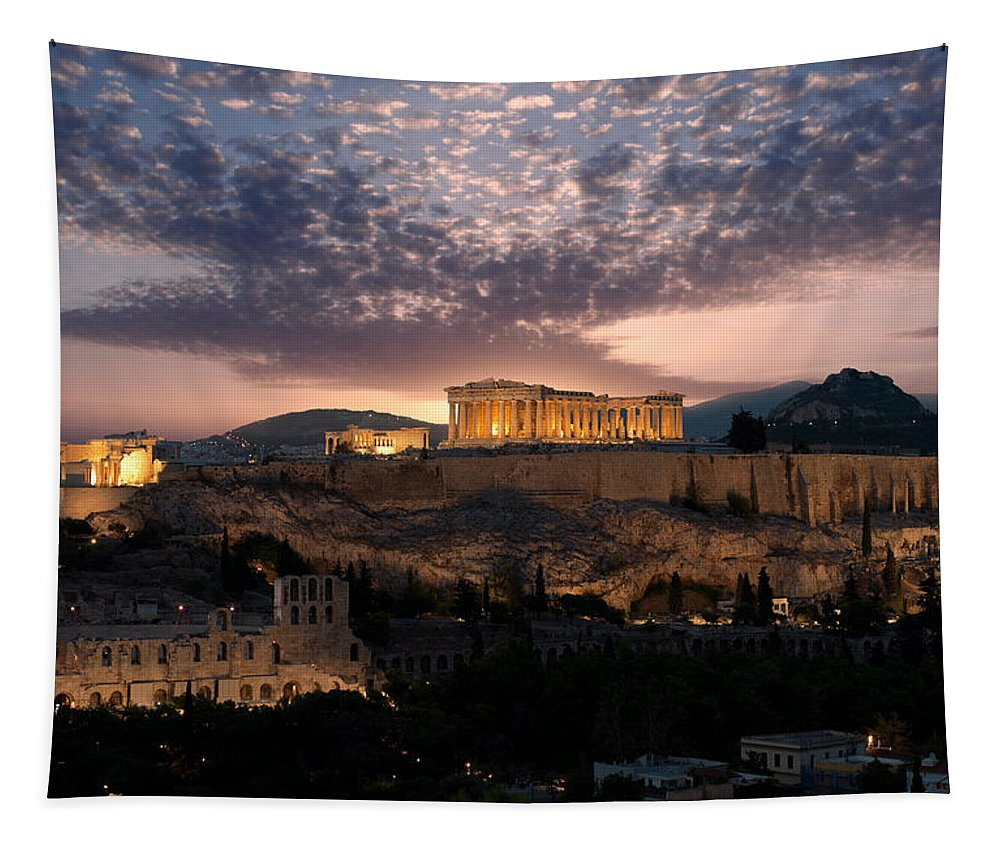 Photography Tapestry featuring the photograph Ruins Of A Temple, Athens, Attica by Panoramic Images