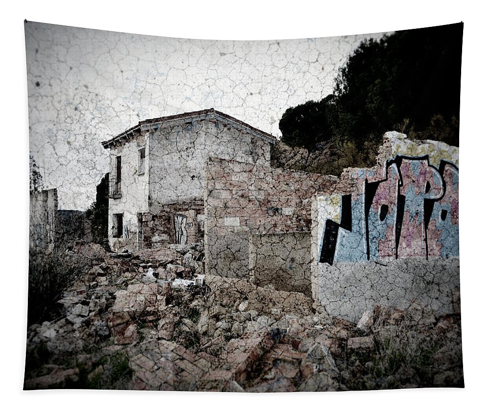Topos Tapestry featuring the photograph Ruins Of An Abandoned Farm House by RicardMN Photography