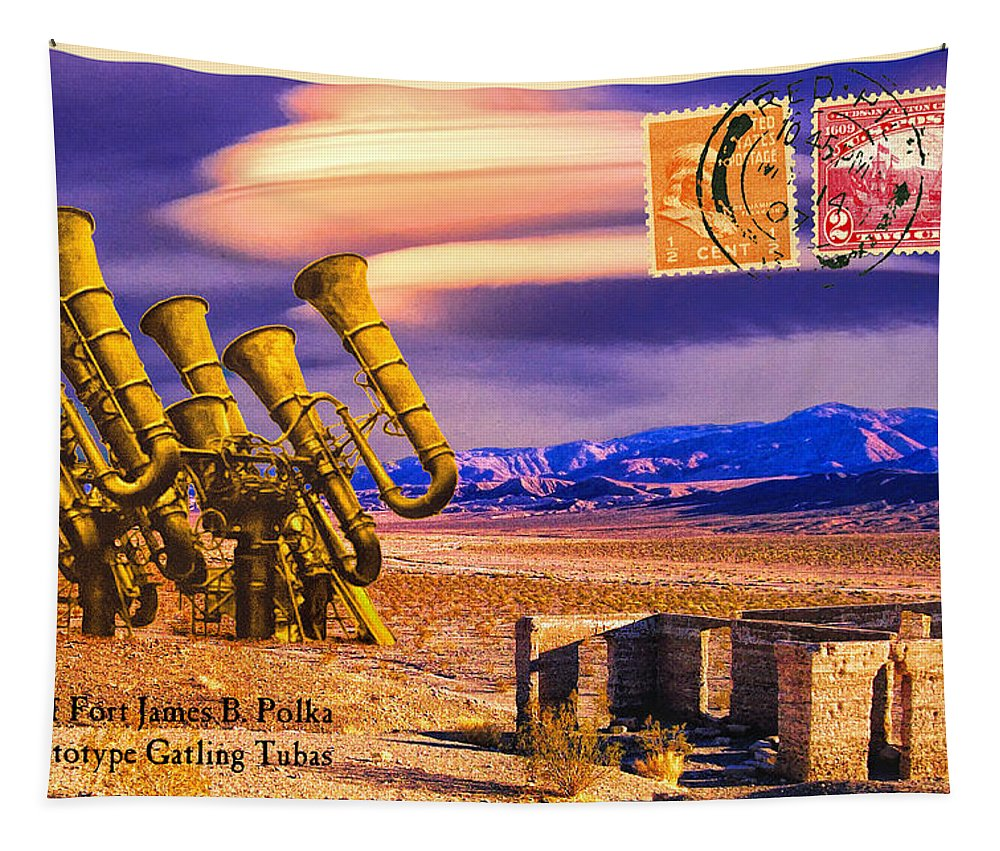 Southwest Tapestry featuring the mixed media Ruins Of Fort James B. Polka And Prototype Gatling Tubas by Dominic Piperata