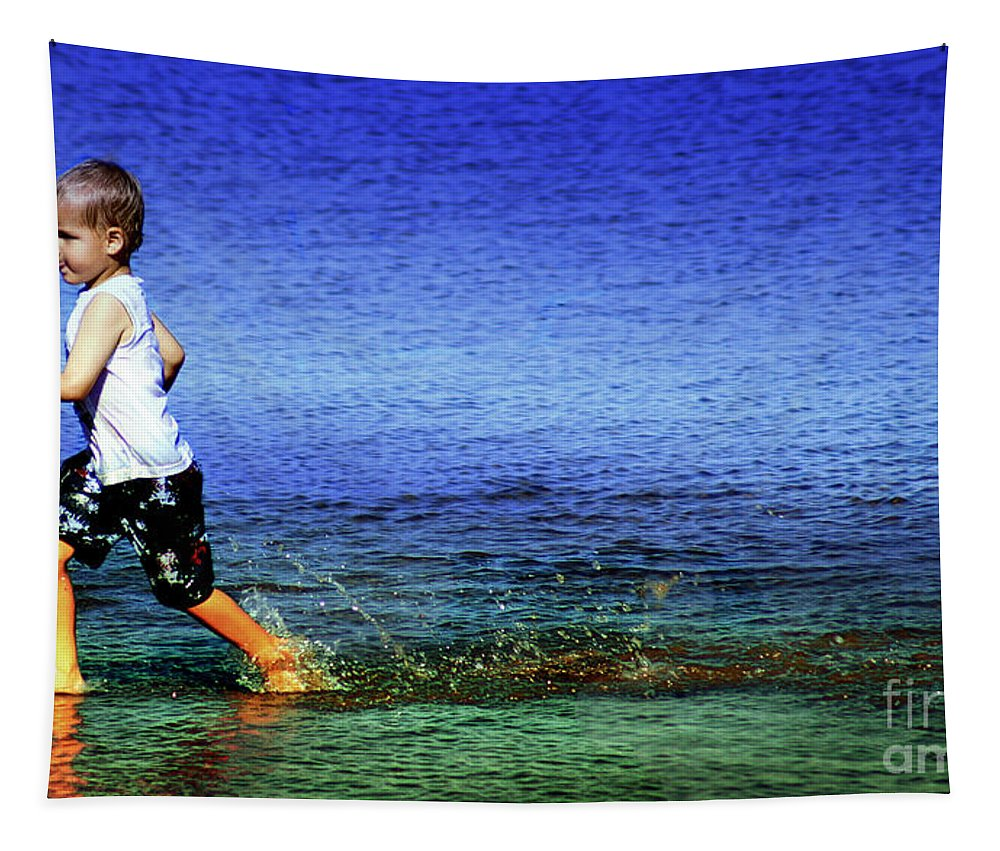 Running Tapestry featuring the photograph Running On Water by Ben Yassa