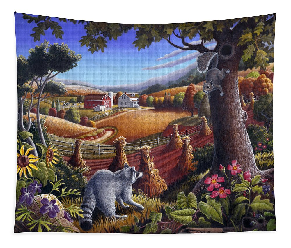 Rural Tapestry featuring the painting Rural Country Farm Life Landscape Folk Art Raccoon Squirrel Rustic Americana Scene by Walt Curlee