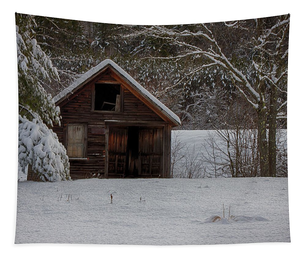 Scenic Vermont Photographs Tapestry featuring the photograph Rustic Shack After The Storm by Jeff Folger
