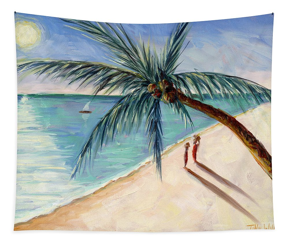 Rustling Palm Tapestry featuring the painting Rustling Palm by Tilly Willis