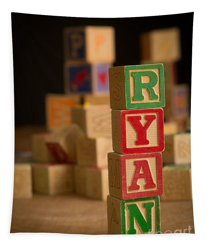 Alphabet Tapestry featuring the photograph Ryan - Alphabet Blocks by Edward Fielding