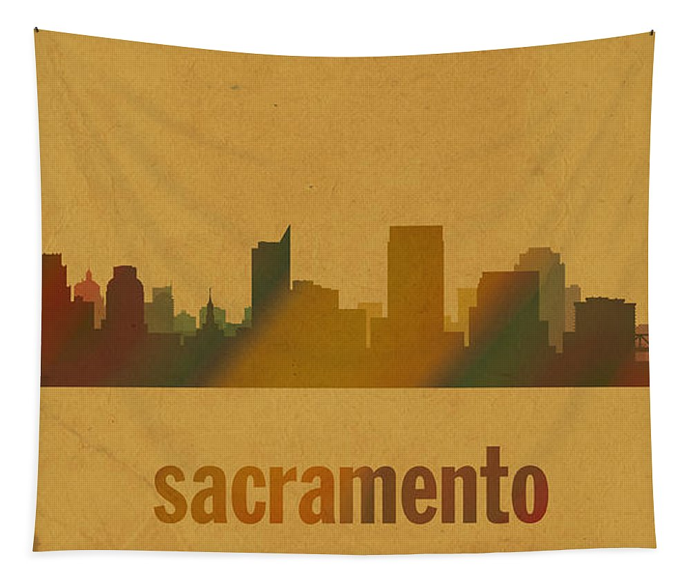 Sacramento Tapestry featuring the mixed media Sacramento California City Skyline Watercolor On Parchment by Design Turnpike