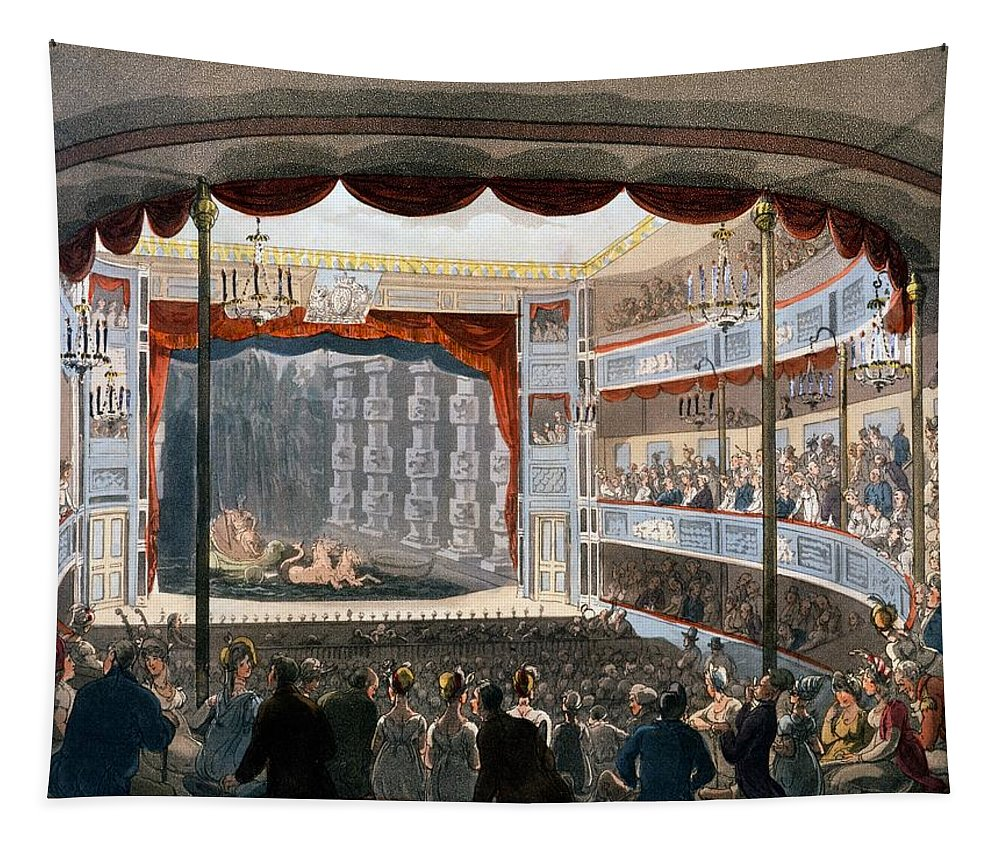Ackermann Tapestry featuring the drawing Sadlers Wells, From Ackermanns by T. & Pugin, A.C. Rowlandson