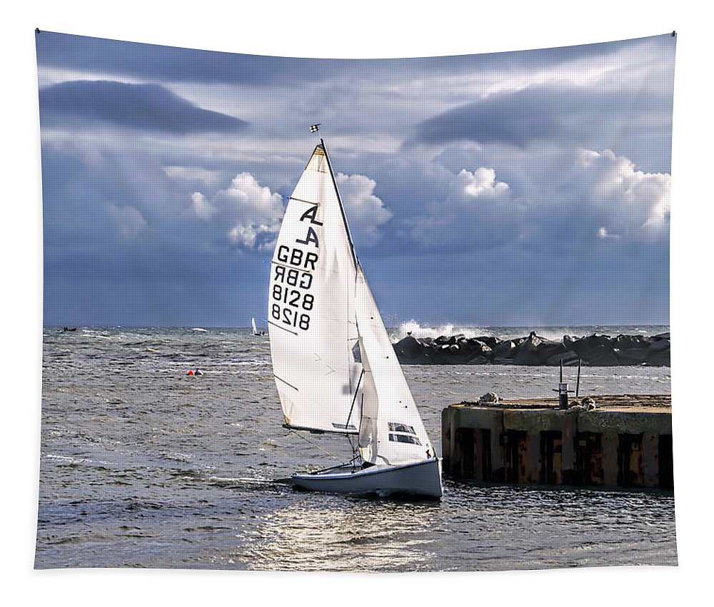 Sailboat Tapestry featuring the photograph Safely Back To Harbour by Susie Peek
