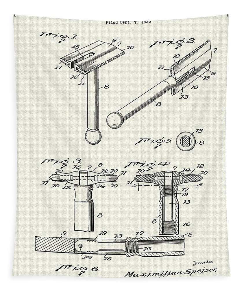 Patent Tapestry featuring the drawing Safety Razor Patent 1937 by Mountain Dreams