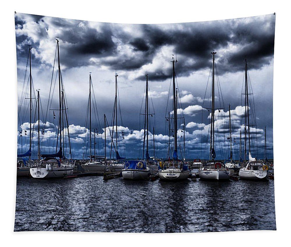 Blue Tapestry featuring the photograph Sailboats by Stelios Kleanthous