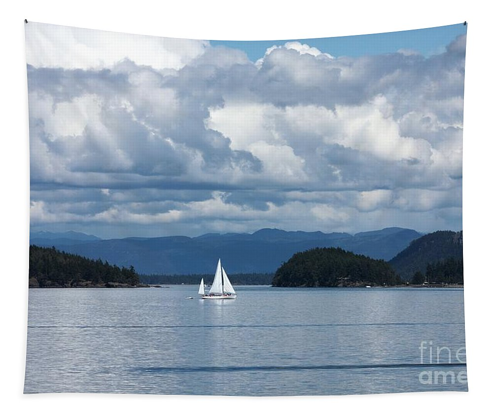 Nautical Tapestry featuring the photograph Sailing In The San Juans by Carol Groenen