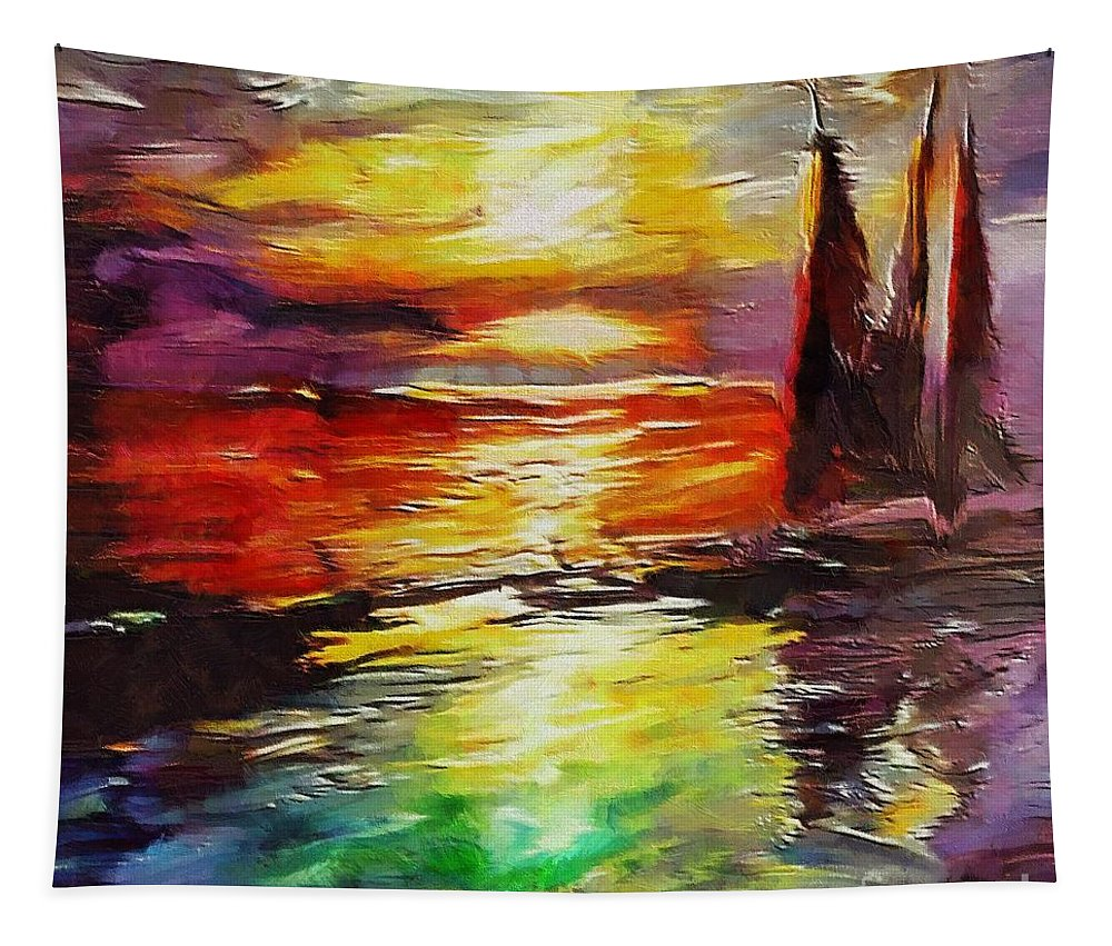 Sailing Tapestry featuring the painting Sailing In The Sunset by Dragica Micki Fortuna