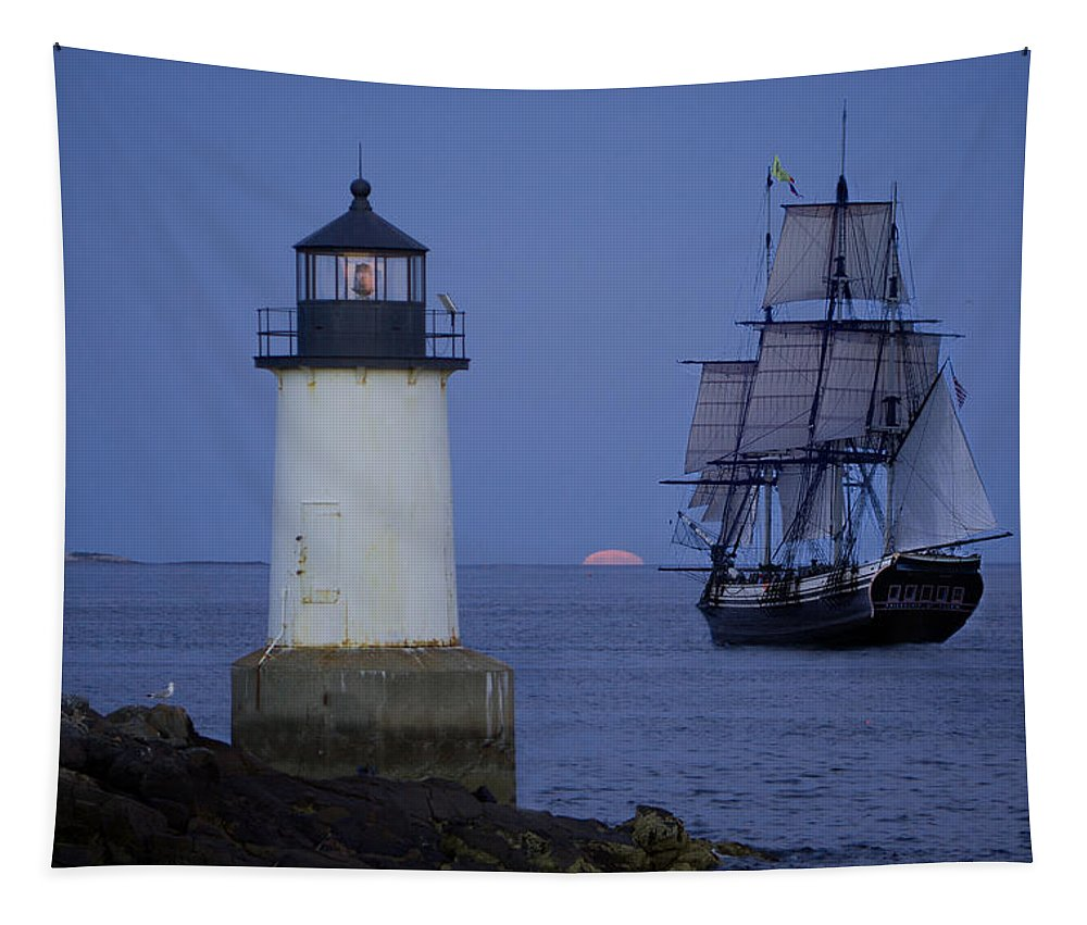 Salem Tapestry featuring the photograph Sailing Out For The Red Moon by Jeff Folger