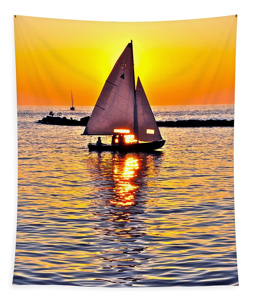Sail Tapestry featuring the photograph Sailing The Seven Seas by Frozen in Time Fine Art Photography