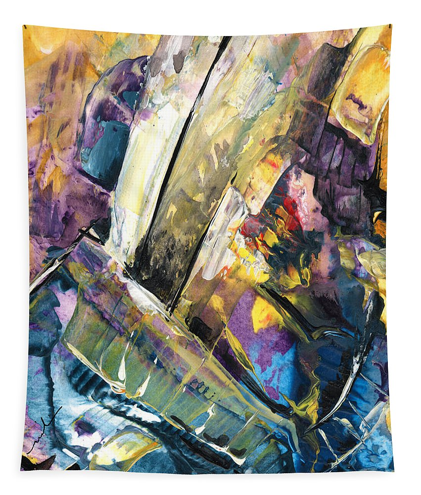 Abstract Tapestry featuring the painting Sailing To Atlantis by Miki De Goodaboom