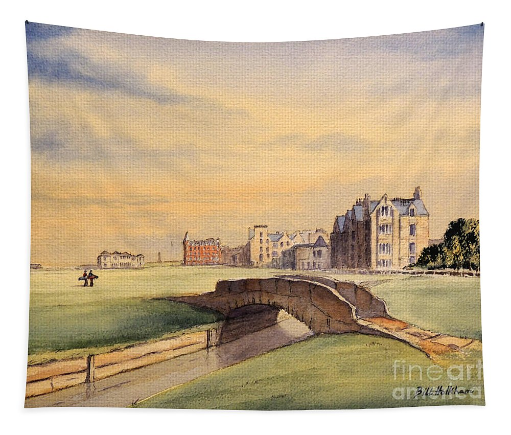 St Andrews Golf Course Tapestry featuring the painting Saint Andrews Golf Course Scotland - 18th Hole by Bill Holkham
