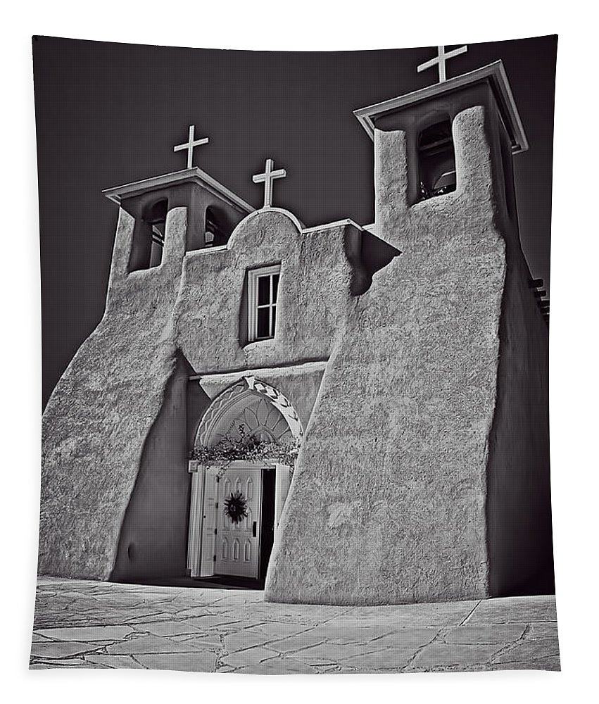 San Tapestry featuring the photograph Saint Francis In Black And White by Charles Muhle