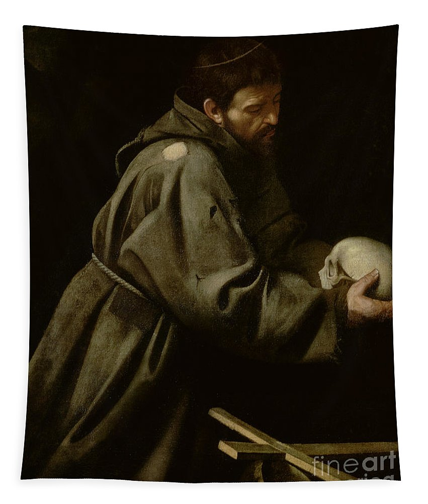 Monk Tapestry featuring the painting Saint Francis In Meditation by Michelangelo Merisi da Caravaggio