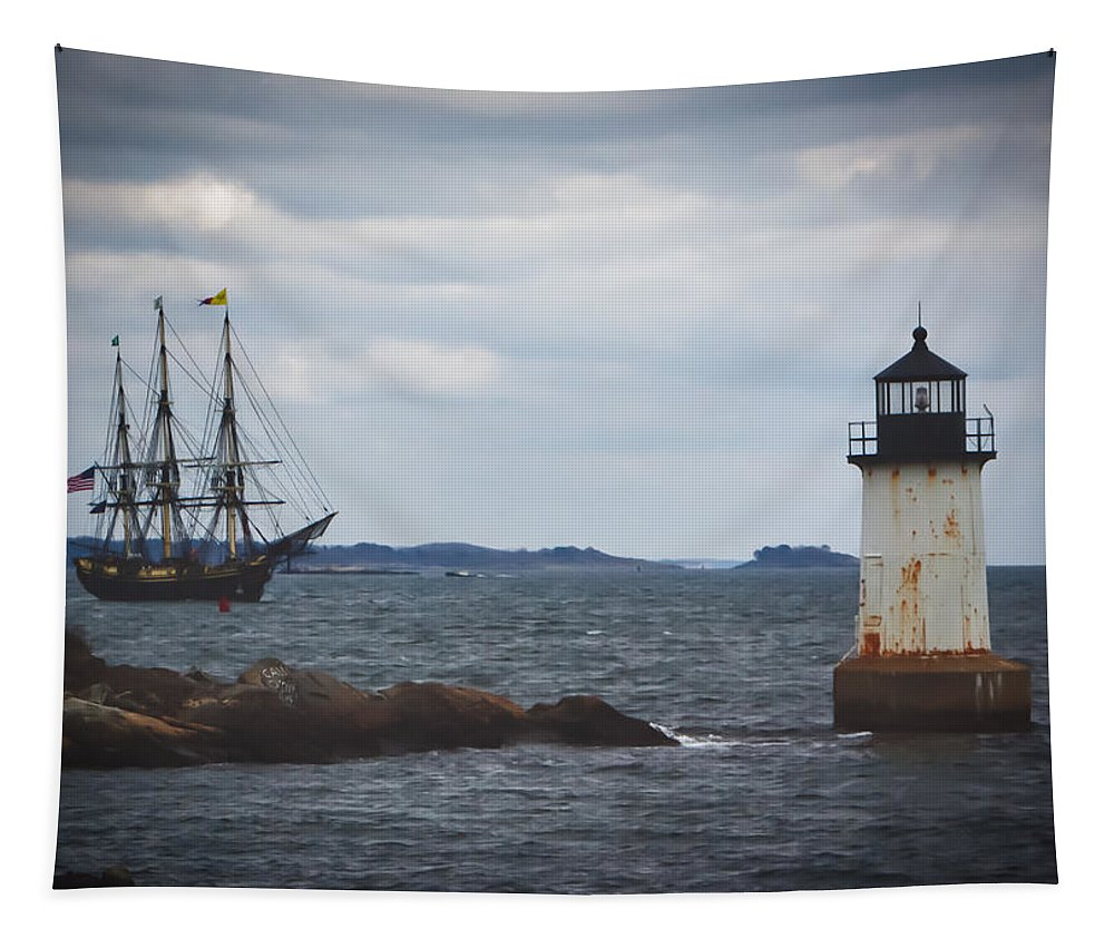 Salem Tapestry featuring the photograph Salem's Friendship Sails Past Fort Pickering Lighthouse by Jeff Folger