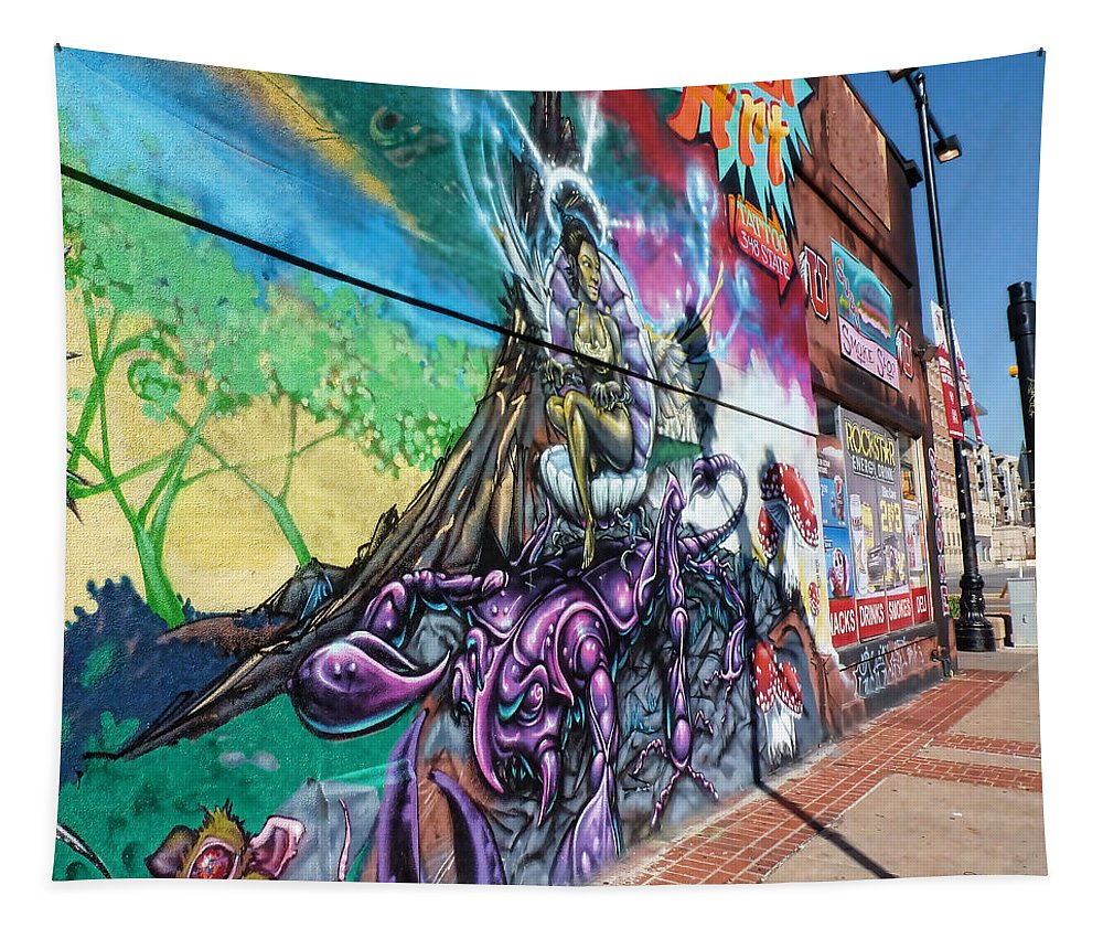 Fairy Mural Tapestry featuring the photograph Salt Lake City - Mural 3 by Ely Arsha