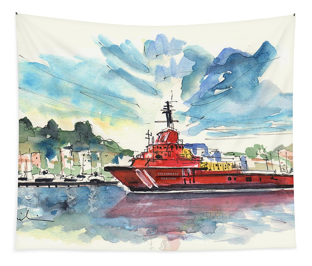 Travel Tapestry featuring the painting Salvage Ship In Cartagena by Miki De Goodaboom