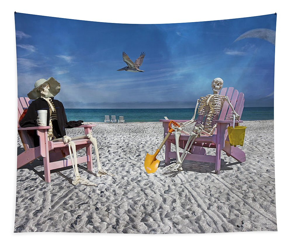 Skeleton Tapestry featuring the photograph Sam And His Friend Visit Long Boat Key by Betsy Knapp