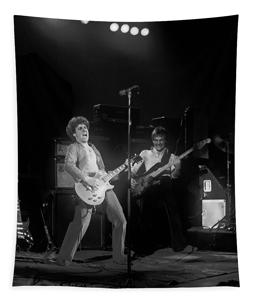 Sammy Hagar Tapestry featuring the photograph Sammy And Bill On Stage In Spokane In 1977 by Ben Upham