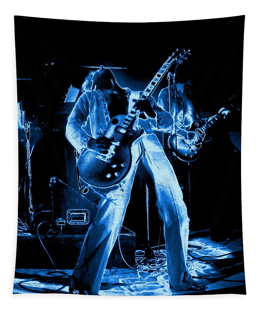Sammy Hagar Tapestry featuring the photograph S H Bending A Cosmic Note In Spokane In 1977 by Ben Upham