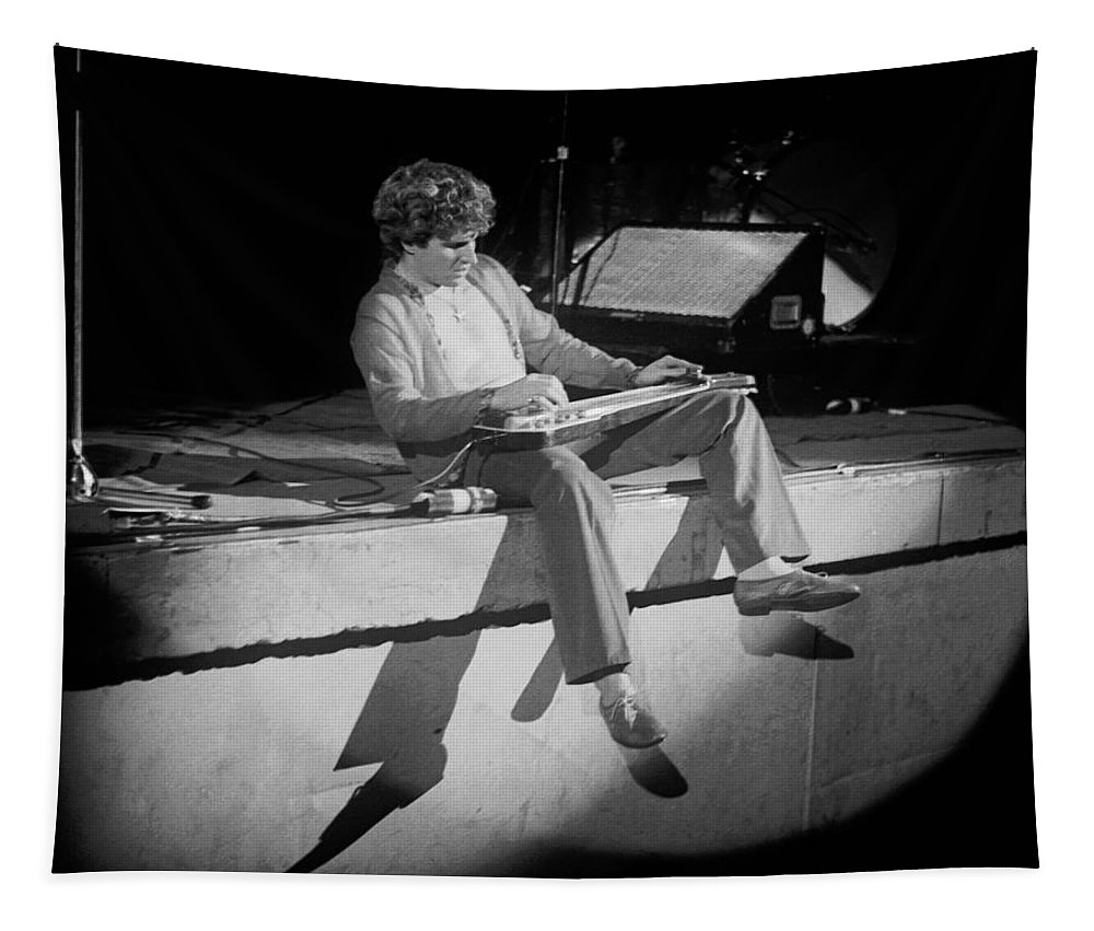 Sammy Hagar Tapestry featuring the photograph S H Playing Bad Motor Scooter In Spokane 1977 by Ben Upham
