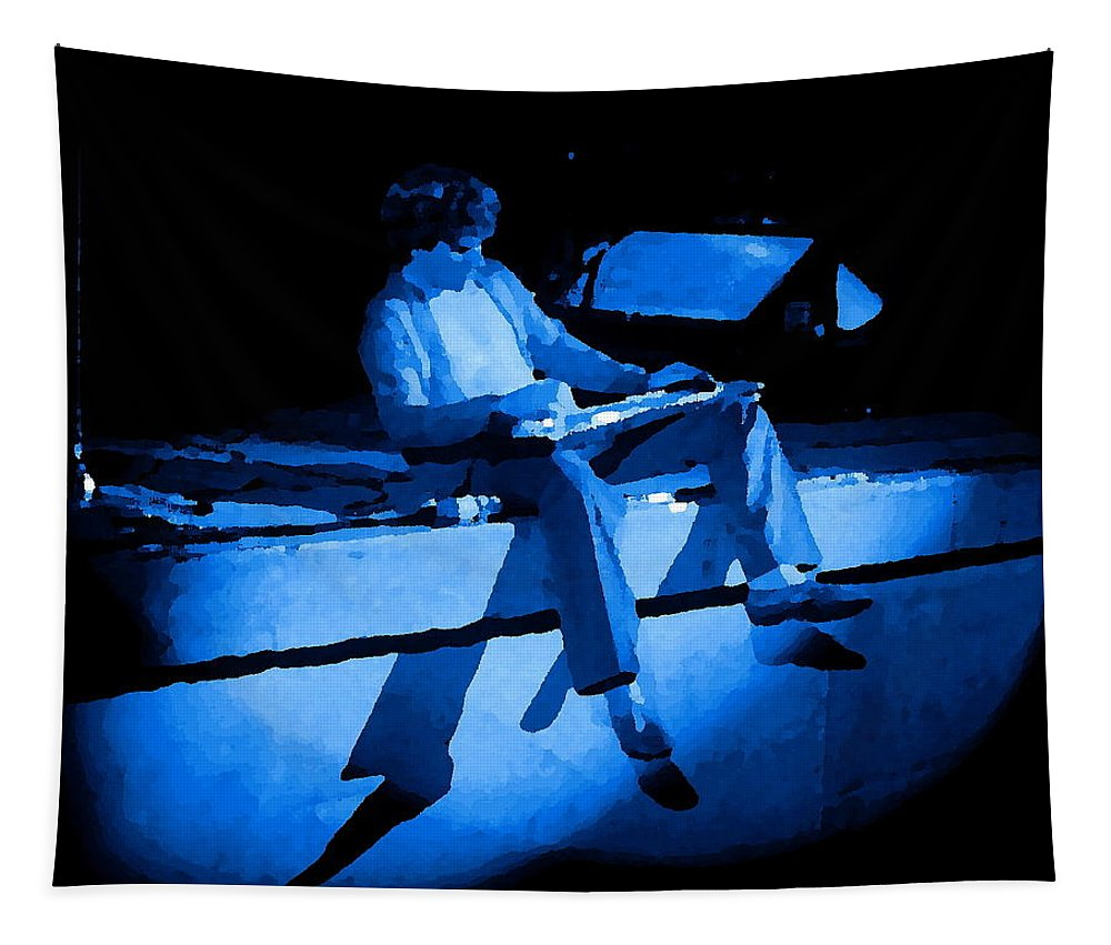 Sammy Hagar Tapestry featuring the photograph S H Playing Bad Motor Scooter In Spokane 1977 Blue by Ben Upham
