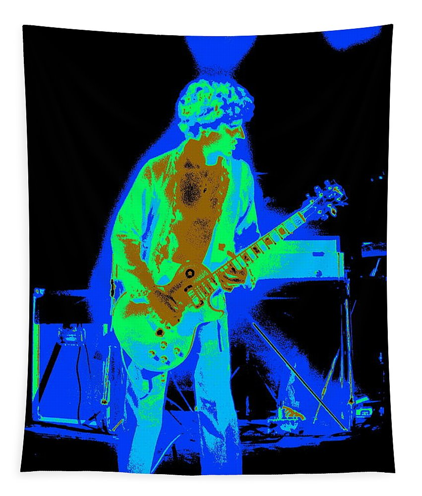 Sammy Hagar Tapestry featuring the photograph Rocking The Aliens In Spokane 1977 by Ben Upham